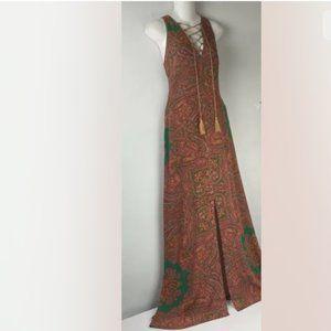 NWT Line & Dot  Long Paisley High Split Dress